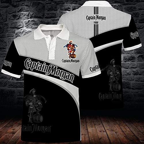 Captain Morgan Rum T-Shirt, Sommermode-Polo-Shirt, Kurze Ärmel für das Training im Freien, 3D-Druck- und Färbetechnologie, atmungsaktiv und elastisch, geeignet für Männer und Frauen