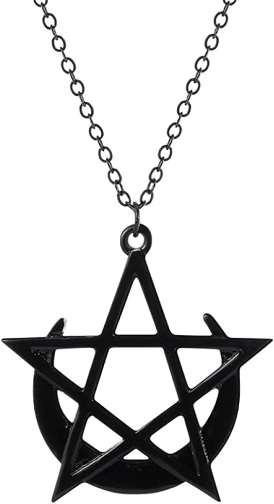 Max 63% OFF SWAOOS Crescent Sale price Moon Star Necklace Pentagram Gothic Wicca Mystic
