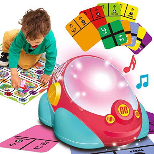 Learning Coding Buddy Car Robot Activity Set with Puzzle, STEM Music and Light Toys, 3 Mode Programming Early Education Recognize Color and Direction Toys for Kids Ages 5+