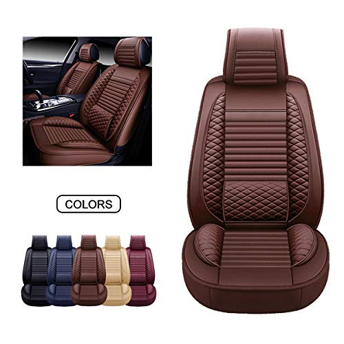 OASIS AUTO Leather Car Seat Covers, Faux Leatherette Automotive Vehicle Cushion Cover for Cars SUV Pick-up Truck Universal Fit Set for Auto Interior Accessories (OS-002 Front Pair, Brown)