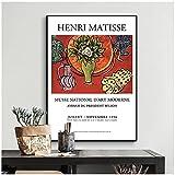 Shmjql Vintage Henri Matisse Cartel Retro E Impresión Abstracta Pared Arte Lienzo Pintura Imagen para Sala De Estar-50X70Cmx1 Sin Marco