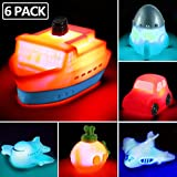 6 packs Light up Boat Bath Toy Set, Flashing Color Changing Light in Water, Floating Rubber Bathtub Toys for...