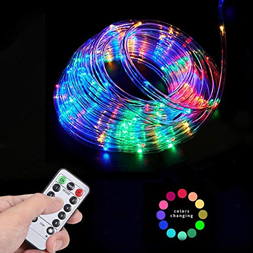 YoungPower LED Rope Lights Outdoor Battery Operated String Lights 40ft 120LED Strip Light Fairy Lights 8 Modes with Remote Control for Camping Christmas Party