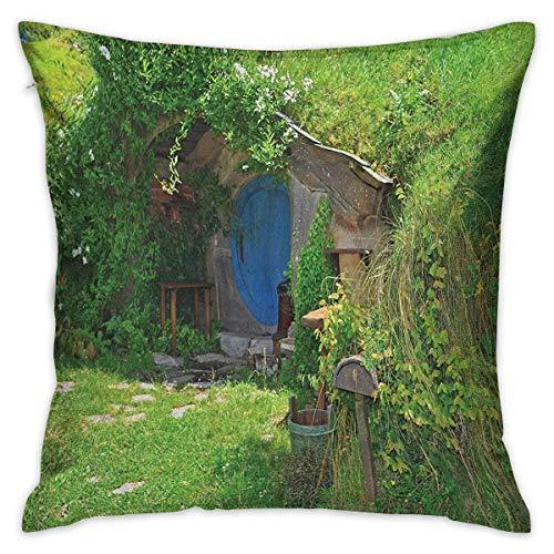 Hobbits Funda de almohada de cuerpo cuadrado Fantasy Hobbit Land House en Magical Overhill Woods Movie Scene Nueva Zelanda Verde Marrón Azul Fundas de cojín Fundas de almohada para sofá Dormitorio Coc