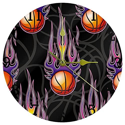 EZIOLY Deportes Baloncesto Power Fire Purple reloj de pared, 10 pulgadas, silencioso, sin garrapatas, cuarzo, funciona con pilas, relojes de pared redondos para el hogar/cocina/oficina/reloj escolar