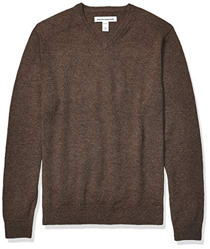 Amazon Essentials Men's Midweight V-Neck Sweater, Brown Heather, Large