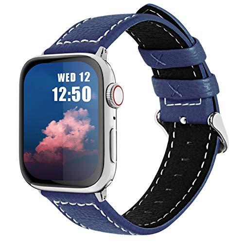 Fullmosa Cinturino per Apple Watch 44mm 42mm, Jan Cinturino in Pelle con Chiusura in Acciaio Inossidabile Compatibile con iWatch Serie SE 6 5 4 3 2 1, Blu Scuro, 42mm 44mm
