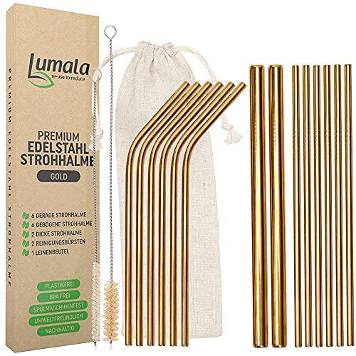 Lumala   14 Plastikfreie Wiederverwendbare Edelstahl Strohhalme   Trinkhalme aus Metall, umweltschonend, nachhaltig + 2 extra breite Trinkrohre für Cocktail, Bubble Tea (Gold)