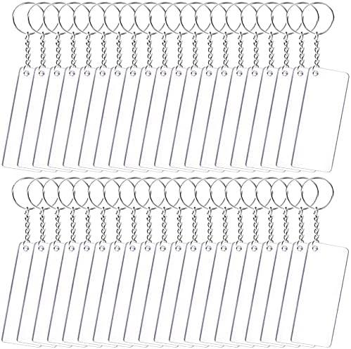 Duufin 120 Pi 232;ces Acrylique Transparent Portecl 233;s Kit avec 40 Pi 232;ces 7x3cm Acrylique Rectangle 40 Pi 232;ces Anneau avec Cha 238;ne et 40 Pi 232;ces Anneaux Ouverts pour DIY PorteCl 233;s