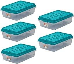 Hefty 40-Qt Hi-Rise Clear Latch Box, Teal Sachet Lid and Handles (5)