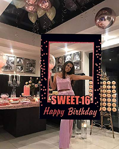 JeVenis Rose Gold Sweet 16 Birthday Gift 16th Birthday Party Supplies Photo Booth Props 16th Birthday Photo Frame Birthday Photo Frame