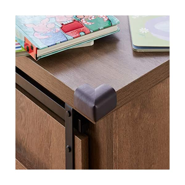 Amazon Brand - Solimo Corner Protectors for Babyproofing, Brown (20 Pre-taped Corner Guards) 5 51nANIM1WcL