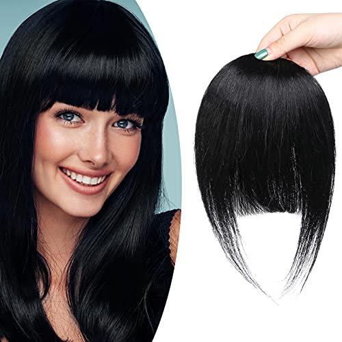SEGO Frangia Clip Capelli Veri Frangetta Folta Extension Hair 100% Remy Human Hair Posticci Donna 25g # Nero Intenso