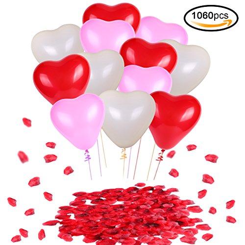 Konsait Globos de Corazon Colores Rojo Rosa Blanco Globos de látex y Pétalos de Rosa en Seda Roja Bodas Fiestas Confeti (1000Uds) para Contrato, Cumpleaños Fiesta de Boda decoración