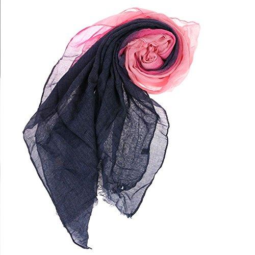VANKER Neuf Femmes Graduel Souple Foulard Voile Longue Écharpe Étole de Fourrure Châle(Violet rose gris)