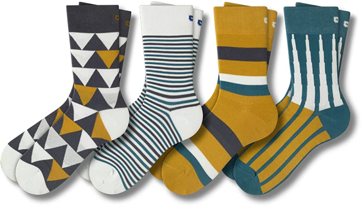 Pair of Thieves Patterned Men's Crew Socks, 4 Pack Uber Comfy Casual Socks for Men, AMZ Exclusive