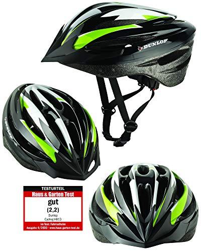 Fahrradhelm Dunlop HB13 für Damen, Herren, Kinder, EPS Innenschale, Abnehmbares Visier für optimalen Blendschutz, Leichter MTB City Bike Helm, besonders Luftig (L(58-61cm), Grün)