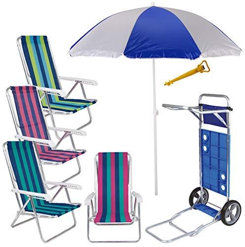 Kit Praia Carrinho C/Avanço + 4 Cadeira Reclin Alum 8pos + Gurda Sol 1,8m + Saca Areia - Mor