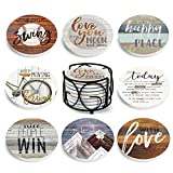 Absorbing Stone Coasters for Drinks by Teivio - Cork Base, with Holder, for Housewarming Apartment Kitchen Room Bar Decor, Set of 8 (Rustic)