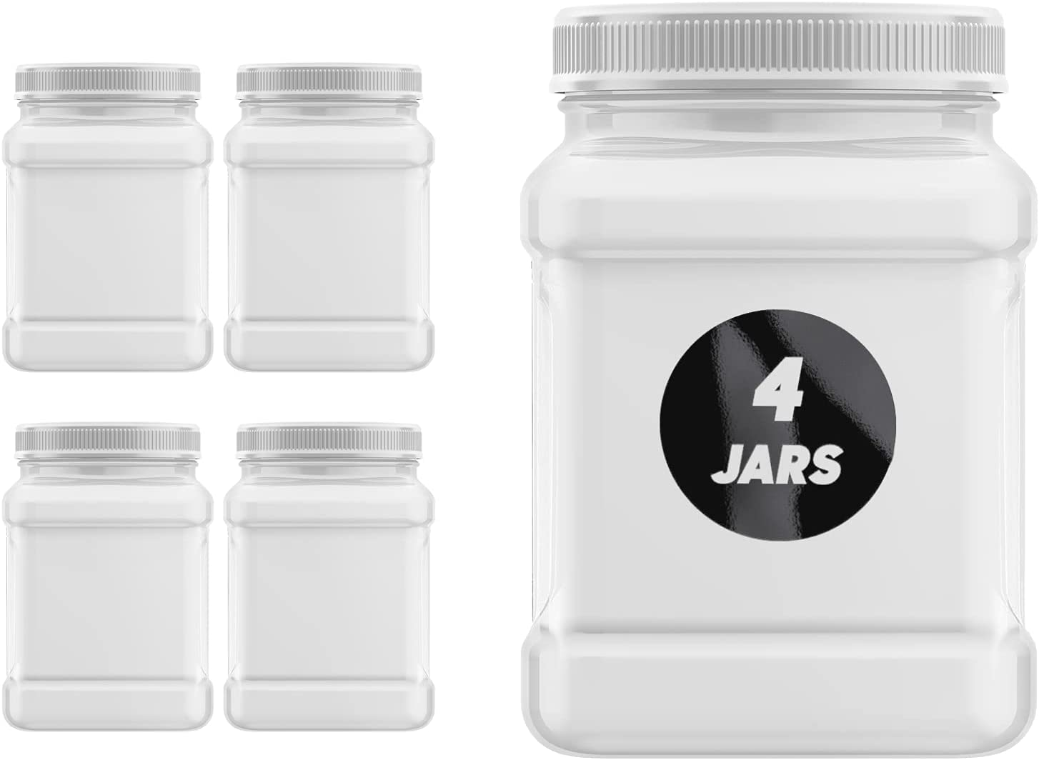 Plastic Jars 32 Ounce Square Pinch Handle (4 Pack) Clear PET Plastic Containers With White Ribbed Lids