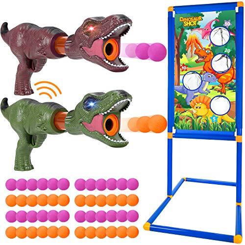 Tacobear Dinosaurio Juegos de Tiro Pistola Juguete con Sonido y Luz Objetivo de Tiro de Pie Pistola Blaster Bolas de Espuma Dinosaurio Juguete Juego de Tiro al Aire Libre Regalo para Niños Niñas