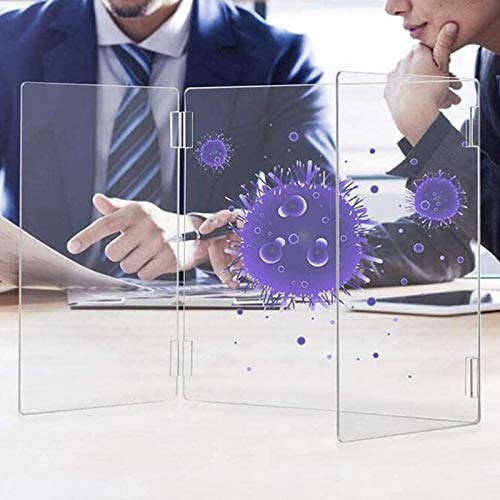 Sneeze Guard, Portable Desktop Plexiglass Shield Acrylic Transparent Protective Screen, for School Podium Reception, W20×D14×T16inch