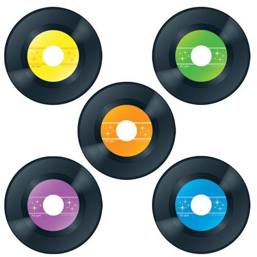 Carson Dellosa | Vinyl Record Cut-Outs | 70s Party Decorations, 4.75-inch, 45pcs