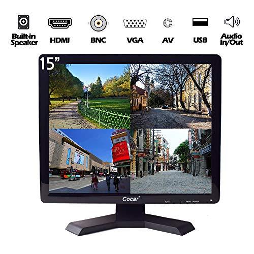 12/15/17/19 inch 4:3 HD CCTV LCD-veiligheidsscherm met VGA HDMI AV BNC. 15 inch CCTV-monitor, zwart.
