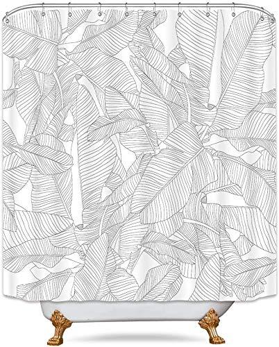 Riyidecor Palm Tree Leaf Shower Curtain Tropical Fern Banana Monstera Leaves White Rainforest Jungle Hawaii Plant Fabric Waterproof Home Bathtub Decor 12 Pack Plastic Hook 72x72 Inch