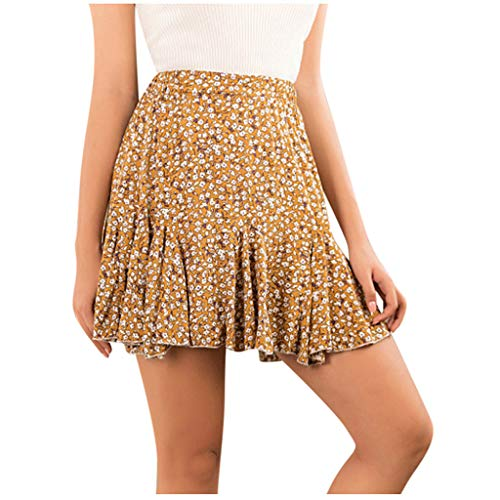 Women's Ruffle Skirts SFE Summer Floral Printed Ruched Stretchy Mini Dress Elastic Waist Sports Casual Dresses Yellow