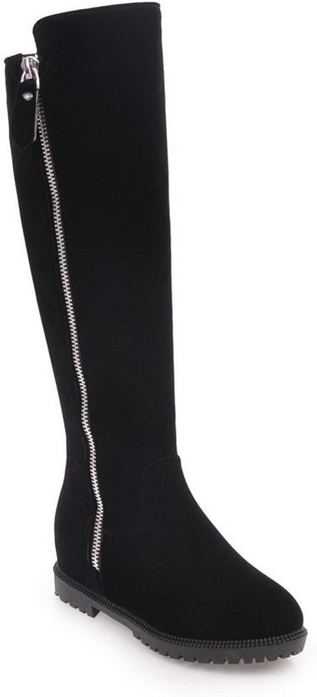 BalaMasa Womens Knee-High Low-Heels Zipper Solid Wedges Black Suede Boots ABL09846 - 9 B(M) US