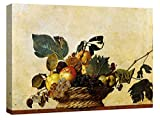 canvashop Quadri Moderni cm 100x70 Caravaggio canestra di Frutta Natura Morta Stampa su Tela Soggiorno