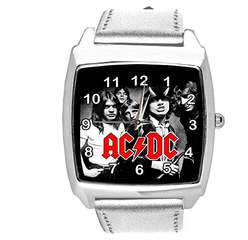 Reloj analógico de cuarzo con correa de piel auténtica de TAPORT®, cuadrado, para ventilador de ACDC