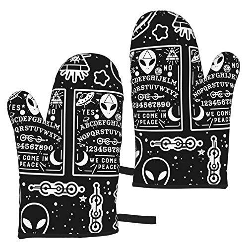 Vintage Occult Alien Ouija - Juego de 2 Guantes de microondas Antideslizantes Resistentes al Calor para cocinar en la Cocina, Barbacoa, Hornear, Asar a la Parrilla