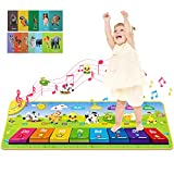 RenFox Music Piano Mat, Keyboard Playmat Kids Musical Mats with 25 Musical Sounds and 5 Play Modes Portable Soft Floor Dance Mat, Early Learning Toys Gift for 1 2 3 Years Old Baby Toddler Boys Girls
