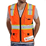 Dib Safety Vest Reflective Orange Mesh, High Visibility Vest with Pockets and Zipper, Heavy Duty Vest Made with 3M Reflective Tape L