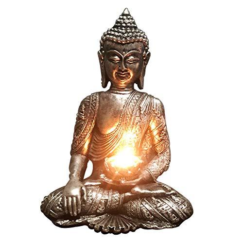 Uziqueif Buddha Statue Teelichthalter, Buddha Figur Deko Zen Garten Feng Shui Buddha Kerzenhalter, Mit Teelichtern Harz Meditation Buddha Statue Buddha Skulptur, Enthält Keine Kerzen,Silber,A