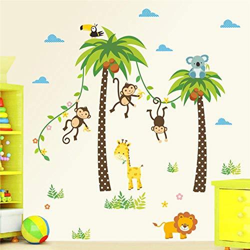 DFD Stickers muraux pour chambre d'enfant Motif girafe, lion, singe, palmier, forêt, animaux