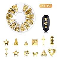 Decdeal ネイルパーツ ゴールドネイルパーツセット カラーラインストーン ネイルアート デコ セルフネイル レジン ネイルデザインアクセサリー