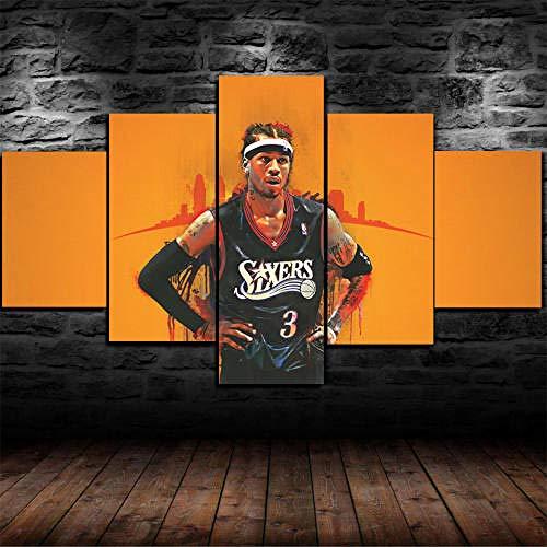 Cuadro sobre Lienzo 5 Piezas Impresión En Lienzo Ancho: 150Cm, Altura: 100Cm Listo para Colgar-Enmarcado Allen Iverson Basketball NBA En Un Marco