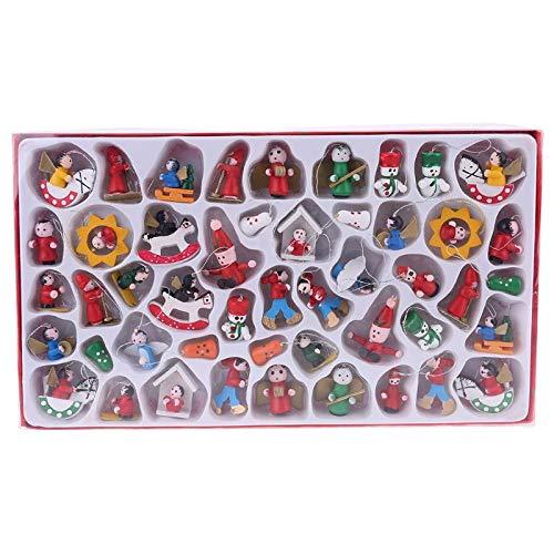 AERVEAL Décorations de Sapin de Noël en Bois - Ensemble de 48 Figurines d'Ornement Père Noël Bonhomme de Neige, Pendentif