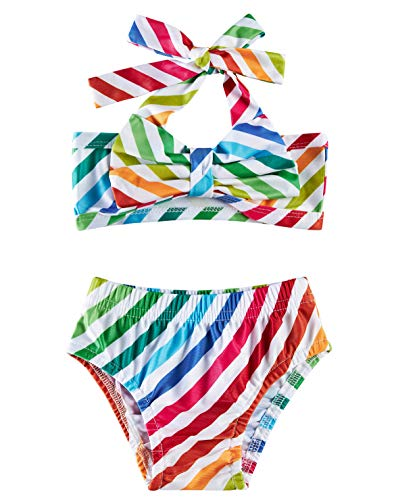 2T Baby Rainbow Bathing Suits Girls 18-24 Months Cute White Red Teal Stripes Lace Bowknot Bikini Sets 2 Years Old Kids Tropical Hawaiian Vacation Summer Shorts Infant High Waisted Ruffles Swimwear