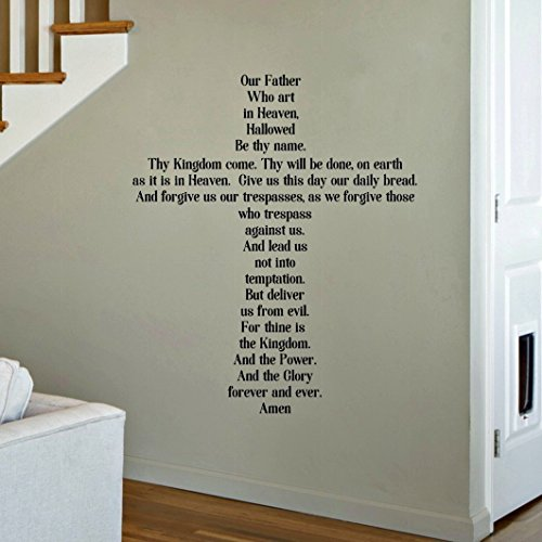 """The Lord's Prayer Decal, Our Father Prayer Wall Decor, Scripture Quotes, 30""""x 36"""" Black Print Font"""