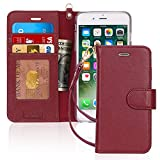 FYY Luxury Genuine Leather Wallet Case for iPhone 6 Plus/6s Plus, [Kickstand Feature] Flip Phone Case Protective Cover with [Card Holder] [Wrist Strap] for Apple iPhone 6 Plus/6s Plus 5.5' Wine Red