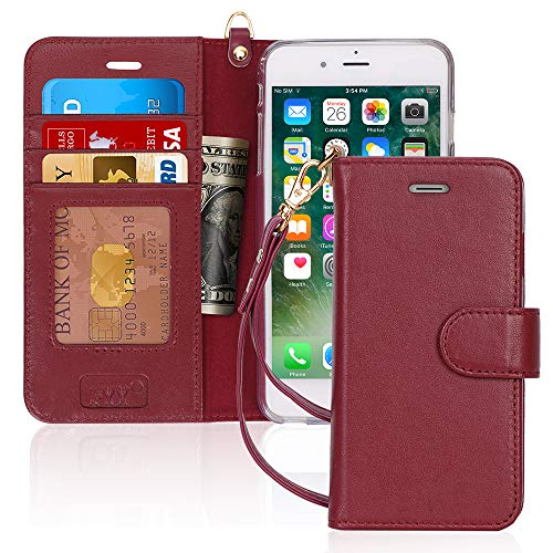 """FYY Luxury Genuine Leather Wallet Case for iPhone 6 Plus/6s Plus, [Kickstand Feature] Flip Phone Case Protective Cover with [Card Holder] [Wrist Strap] for Apple iPhone 6 Plus/6s Plus 5.5"""" Wine Red"""