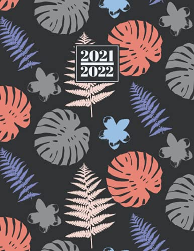 2021 - 2022: 18 Month Daily Diary A4 DO1P | Full Day to View Mid - Year Day to Page Planner | Jul 21 - Dec 22 Lined Writing Journal | Grey, Coral ... Leaves & Flowers Pattern (18 Month Diaries)