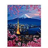 数字によるDIYペイントタワー風景キャンバス上の数字による油絵フレームレス数字絵画家の装飾