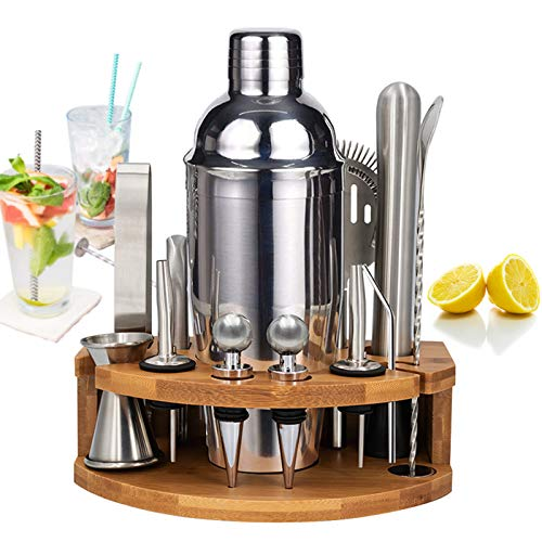 Bartender Kit, MUTOCAR 15Piece Stainless Steel Cocktail Shaker Bar Tools, Premium Bartending Kit for Home, Bars, Traveling, and Outdoor Parties