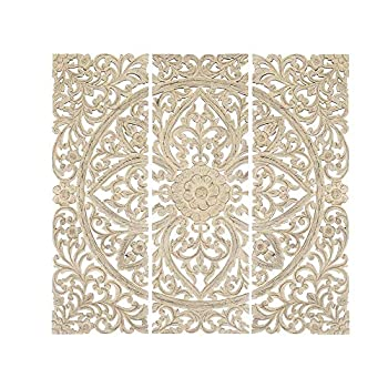 Benzara BM00070 Floral Hand Carved Wooden Wall Plaque Antique White Set of 3 Rectangle Light