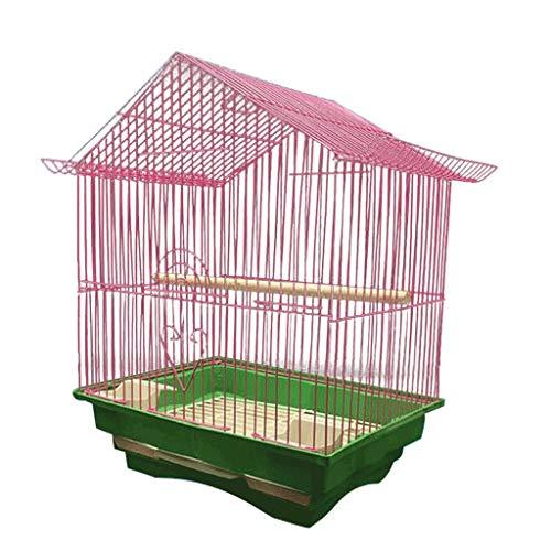 Jaula de Pájaros Aves Vida limpia Jaula de pájaros Cultura económica Jaula de pájaros Adecuado para loros Gorrión pequeño 28cm × Ancho 21cm × Altura 38cm Espaciosa Jaula ( Color : Pink )